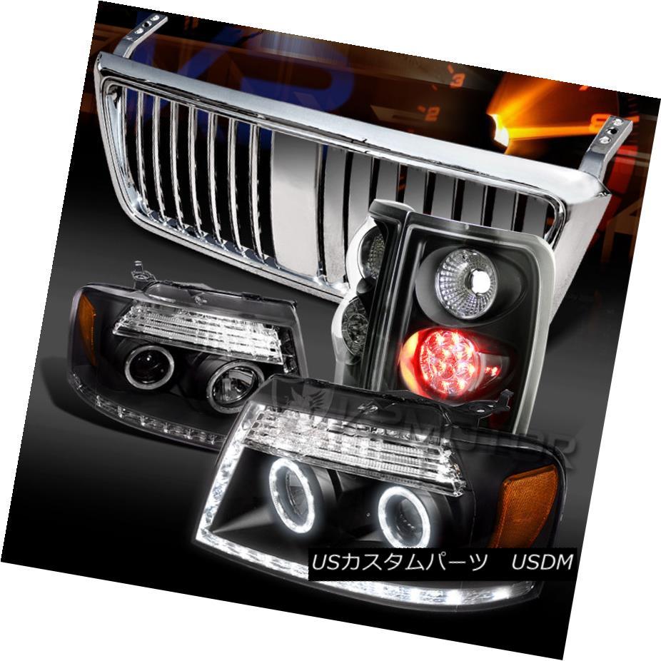 テールライト 04-08 F150 Black Halo DRL Projector Headlights+LED Tail Lamps+Chrome Grille 04-08 F150ブラックハローDRLプロジェクターヘッドライト+ LEDテールランプ+クロームグリル