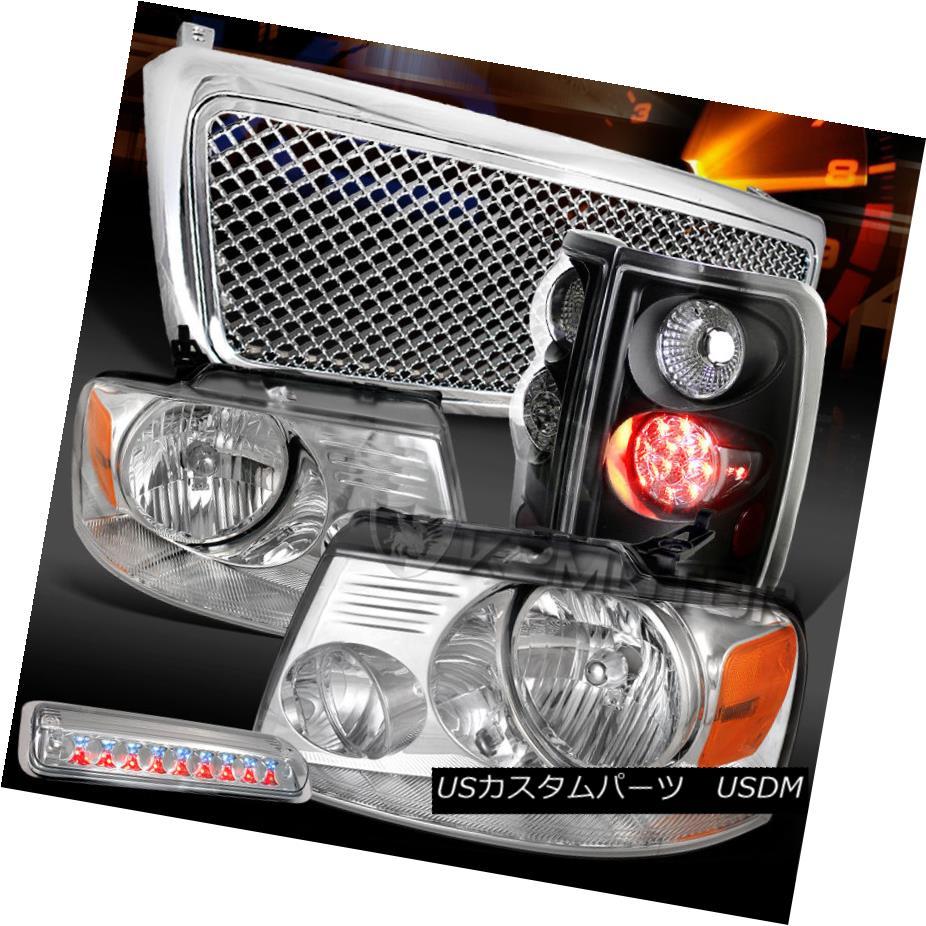 テールライト 04-08 F150 Chrome Headlights+Hood Grille+LED 3rd Stop+Black LED Tail Lamps 04-08 F150クロームヘッドライト+ Hoo dグリル+ LED 3ストップ+ブラックLEDテールランプ