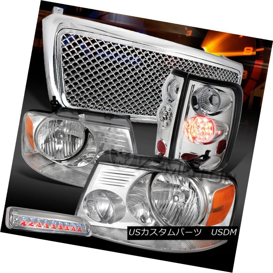 テールライト 04-08 F150 Chrome Headlights+LED Tail Lamps+Clear LED 3rd Brake+Mesh Grille 04-08 F150クロームヘッドライト+ LEDテールランプ+クリアLED第3ブレーキ+メッシュグリル