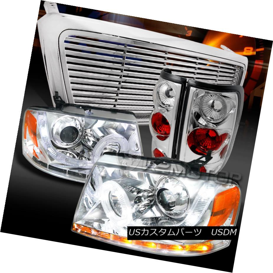 テールライト 04-08 F150 Chrome SMD LED Signal Projector Headlights+Tail Lamps+Billet Grille 04-08 F150クロムSMD LEDプロジェクターヘッドライト+タイ lランプ+ビレットグリル