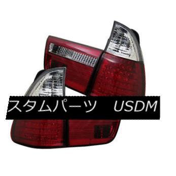 テールライト BMW 00-06 X5 E53 Red Clear LED Rear Tail Light Set Signal Brake Lamp BMW 00-06 X5 E53レッドクリアLEDリアテールライトセット信号ブレーキランプ