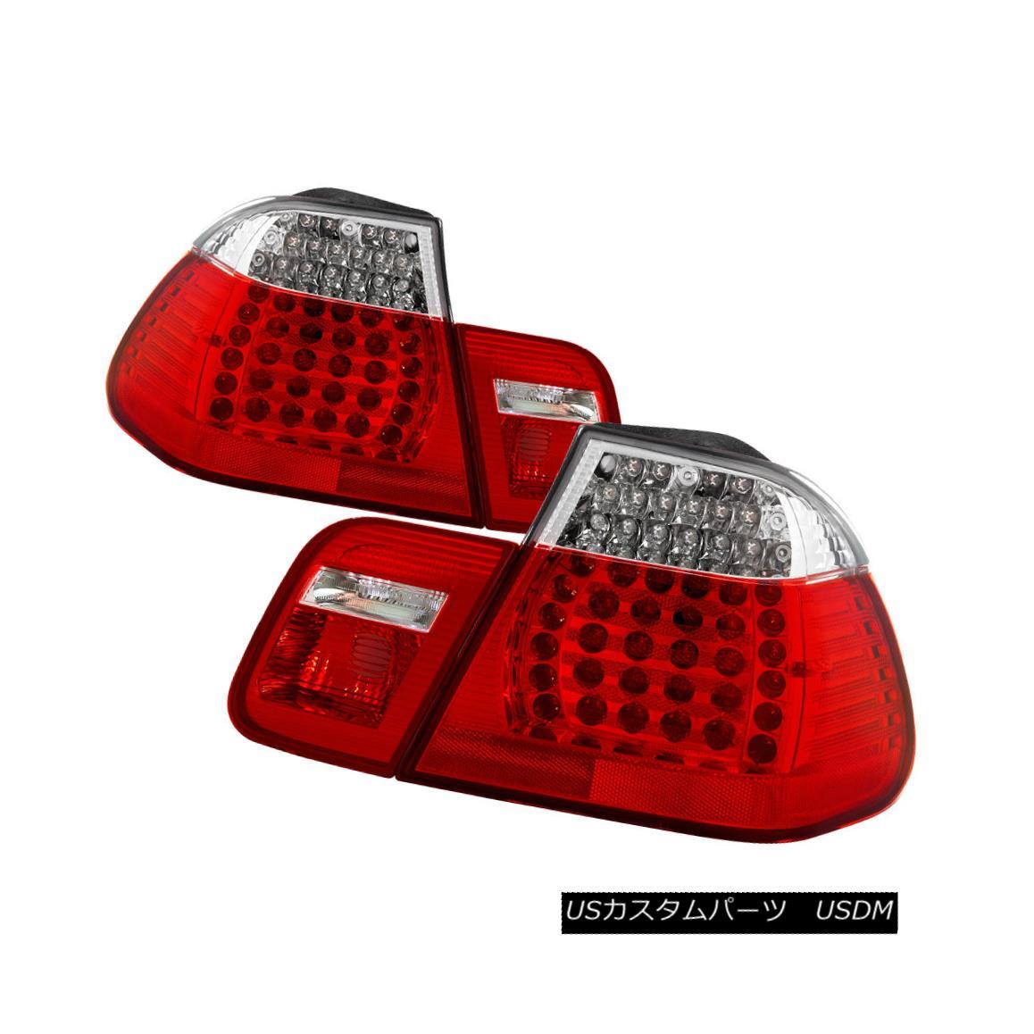 テールライト BMW 02-05 E46 4dr Red Clear LED Rear Tail Brake Lights Set 4 Door 325i 330i 320i BMW 02-05 E46 4drレッドクリアLEDリアテールブレーキライト4ドアセット325i 330i 320i