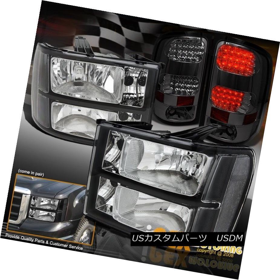 テールライト New 2007-2013 GMC Sierra 1500 2500HD 3500 Black Headlight + LED Smoke Tail Light 新しい2007-2013 GMC Sierra 1500 2500HD 3500ブラックヘッドライト+ LED煙テールライト