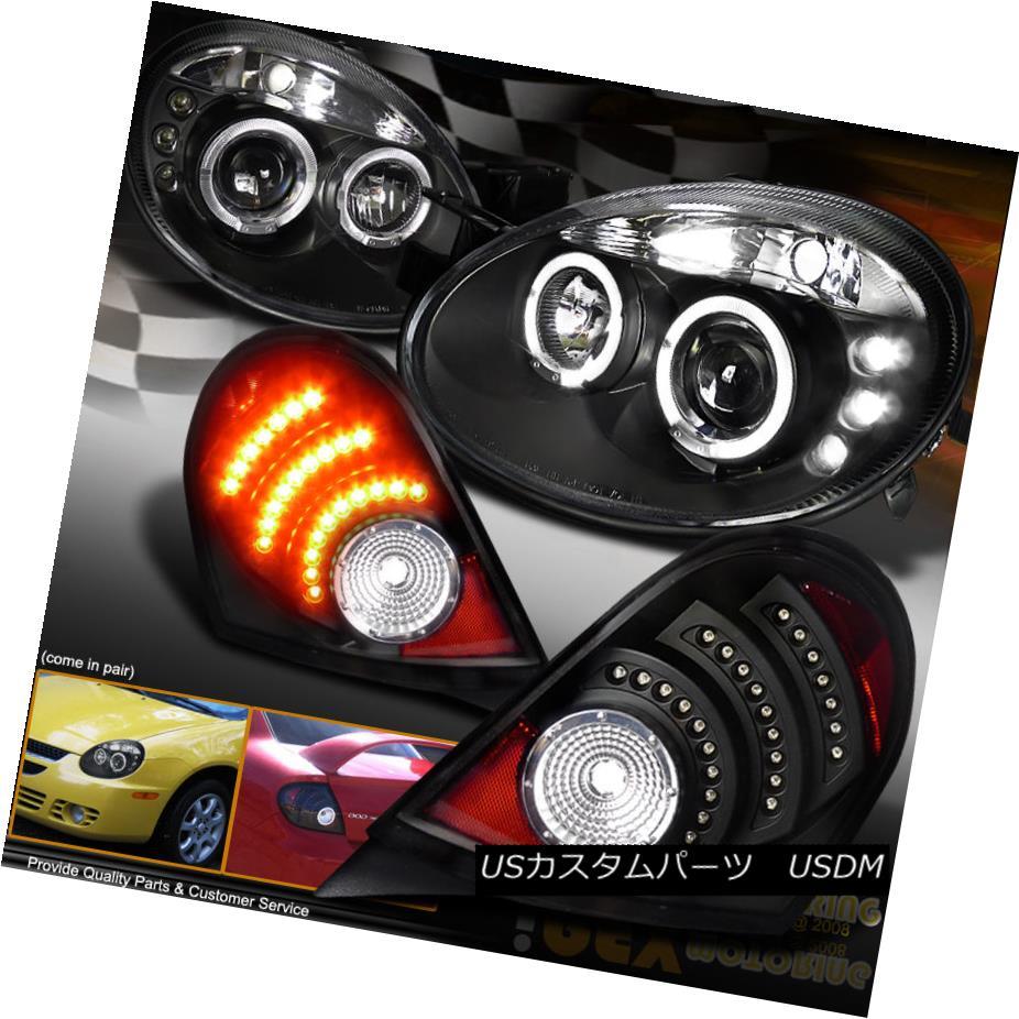 テールライト 2003 2004 2005 Dodge Neon Dual Halo Projector Headlights W/ LED Tail Light Black 2003 2004 2005 Dodge NeonデュアルヘイロープロジェクターヘッドライトW / LEDテールライトブラック