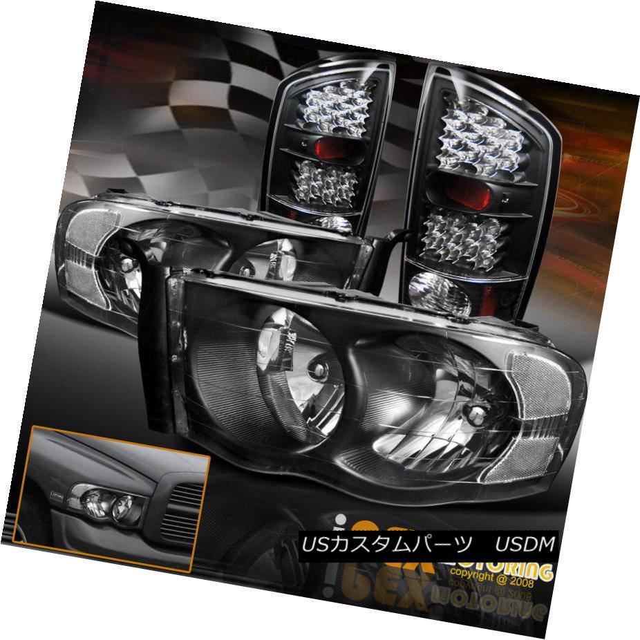 テールライト 2002-2005 Dodge RAM 1500 2500 3500 Black Headlights + FULL LED Black Tail Lights 2002-2005ダッジRAM 1500 2500 3500ブラックヘッドライト+フルLEDブラックテールライト