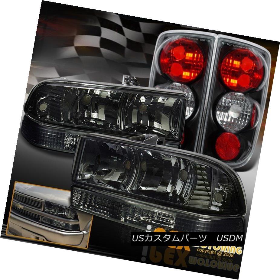 テールライト 1998-2004 Chevy Blazer Smoke Head Light W/ Front Bumper Signal & Black Tail Lamp 1998-2004シボレーブレイザースモークヘッドライトW /フロントバンパーシグナル& ブラックテールランプ