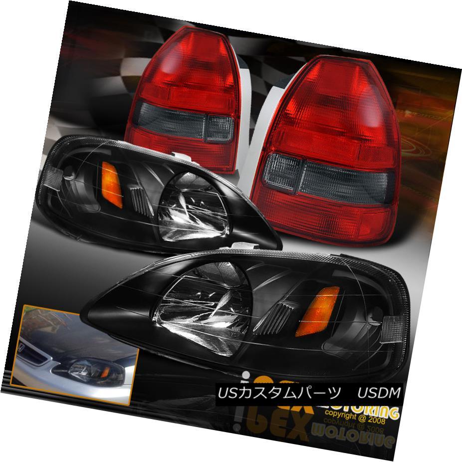 テールライト 1999-2000 Honda Civic 3Dr Hatchback JDM Black Headlight+Red Smoke Tail Light EK9 1999-2000ホンダシビック3DrハッチバックJDMブラックヘッドライト+レッドスモークテールライトEK9