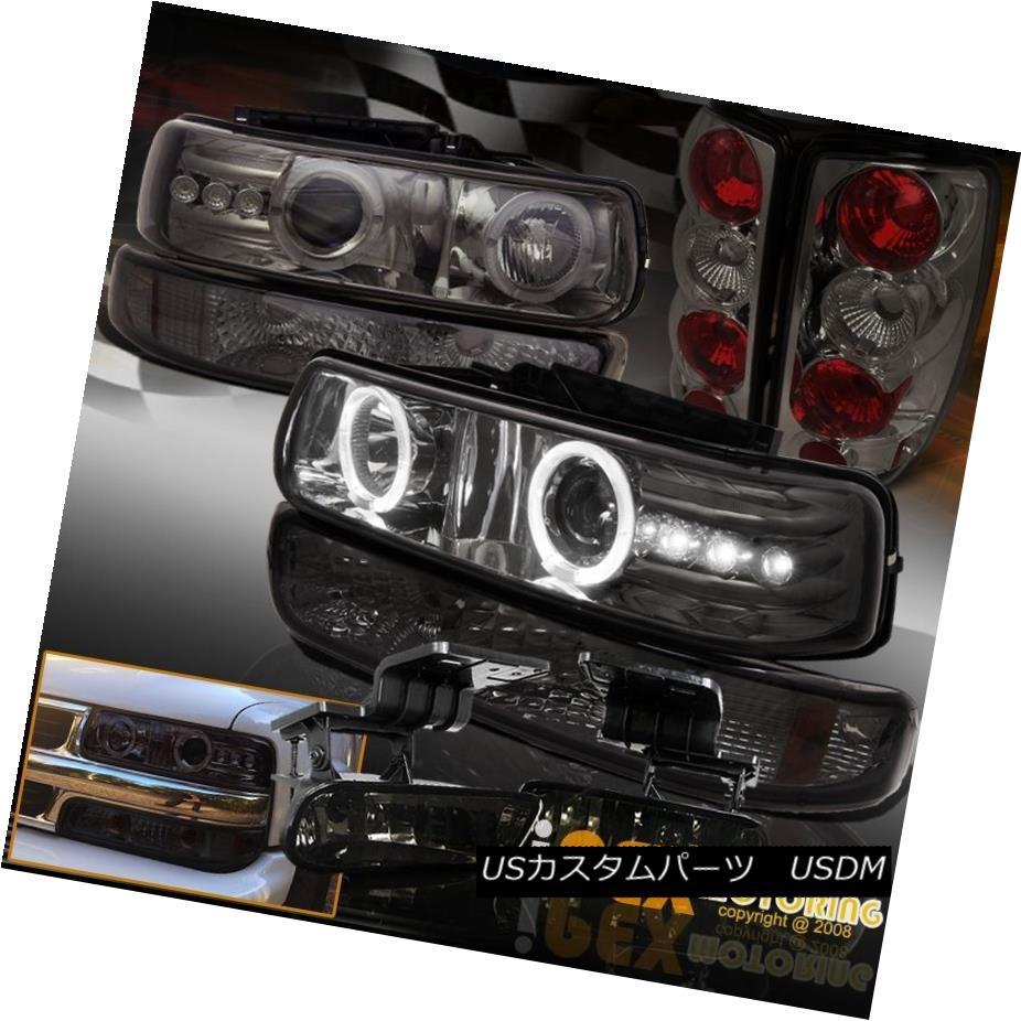 テールライト Smoke Chevy Tahoe Suburban Halo Projector Head Light + Signal + Fog + Tail Lamp スモークシボレータホー郊外ヘイロープロジェクターヘッドライト+信号+フォグ+テールランプ