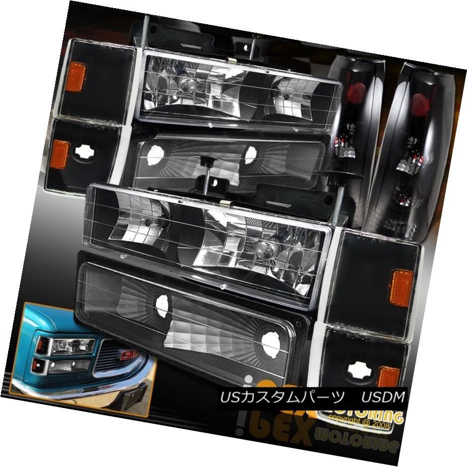 テールライト 1988-1993 GMC & Chevy Truck Black Headlight Set + Dark Smoke Tail Light + Corner 1988-1993 GMC& シボレートラックブラックヘッドライトセット+ダークスモークテールライト+コーナー
