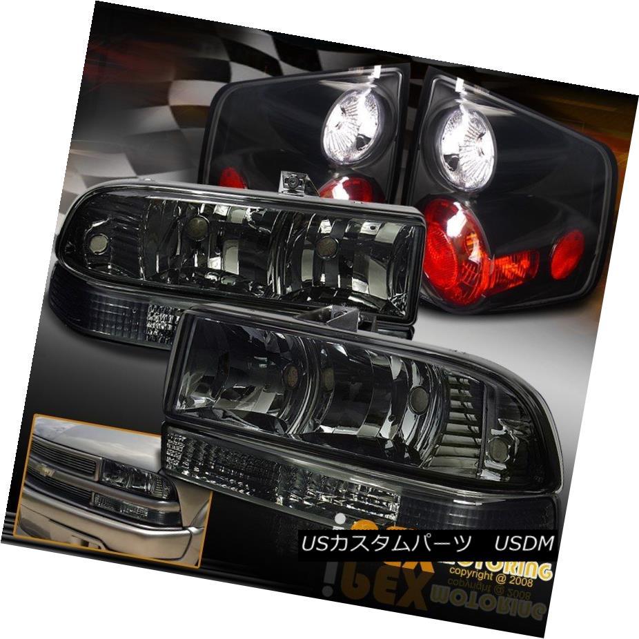 テールライト 1998-2004 Chevy S10 S-10 Smoke Headlights W/ Signal Lamps + Black Tail Lights 1998-2004シボレーS10 S-10スモークヘッドライトシグナルランプ+ブラックテールライト