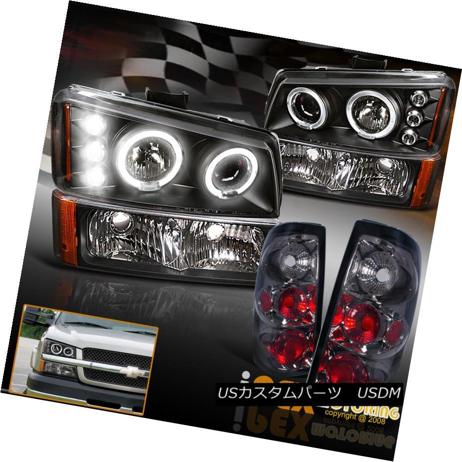テールライト 2003-2006 Chevy Silverado Halo Projector Black Headlight+Smoke Tail Light+Signal 2003-2006シボレーシルバラードハロープロジェクターブラックヘッドライト+スモーク eテールライト+信号