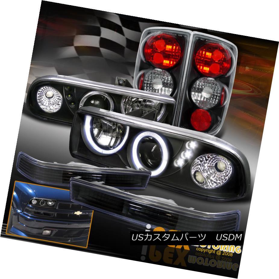 テールライト Chevy Blazer Halo LED Projector Headlights + Tail Lights + Bumper Signals Black Chevy Blazer Halo LEDプロジェクターヘッドライト+テールライト+バンパーシグナルブラック
