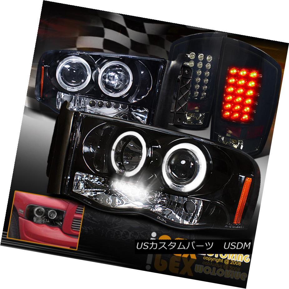 テールライト 02-05 Dodge Ram Halo Projector Gloss Black Headlight + Dark Smoke LED Tail Light 02-05 Dodge Ram Haloプロジェクターグロスブラックヘッドライト+ダークスモークLEDテールライト