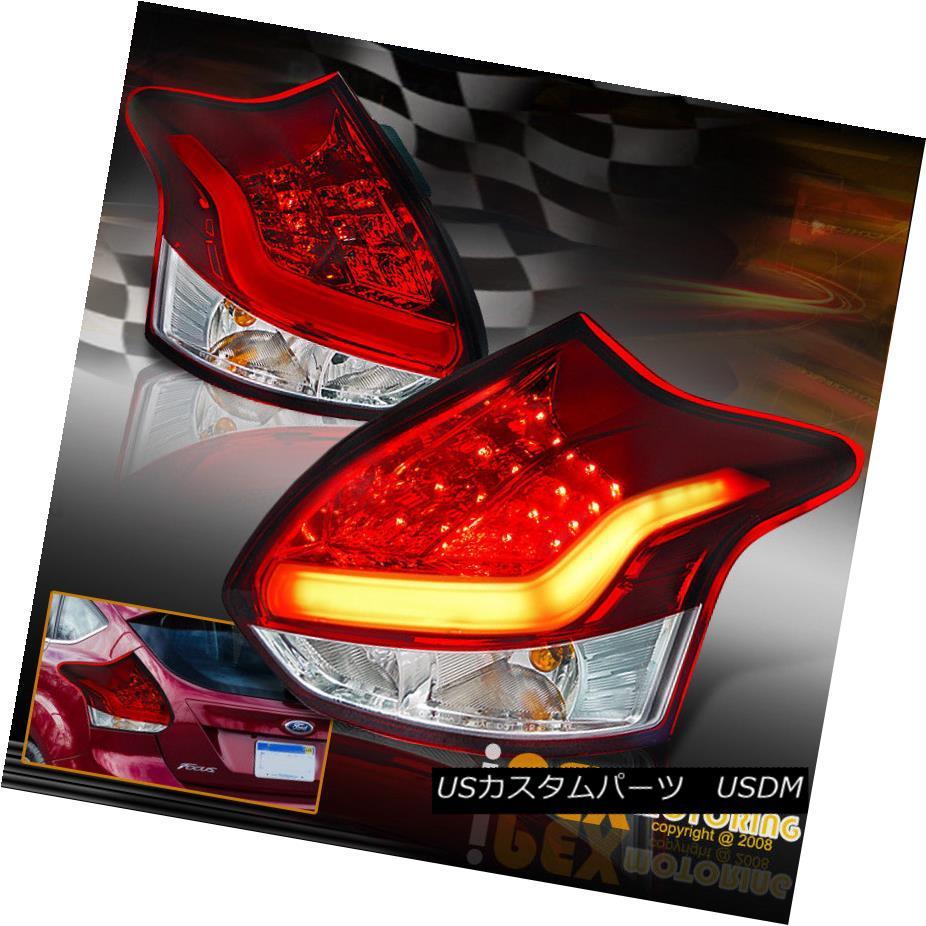 テールライト Brand New! 2012 2013 2014 Ford Focus Hatchback LED Rear Tail Light Pair Red 真新しい! 2012 2013 2014フォードフォーカスハッチバックLEDリアテールライトペアレッド