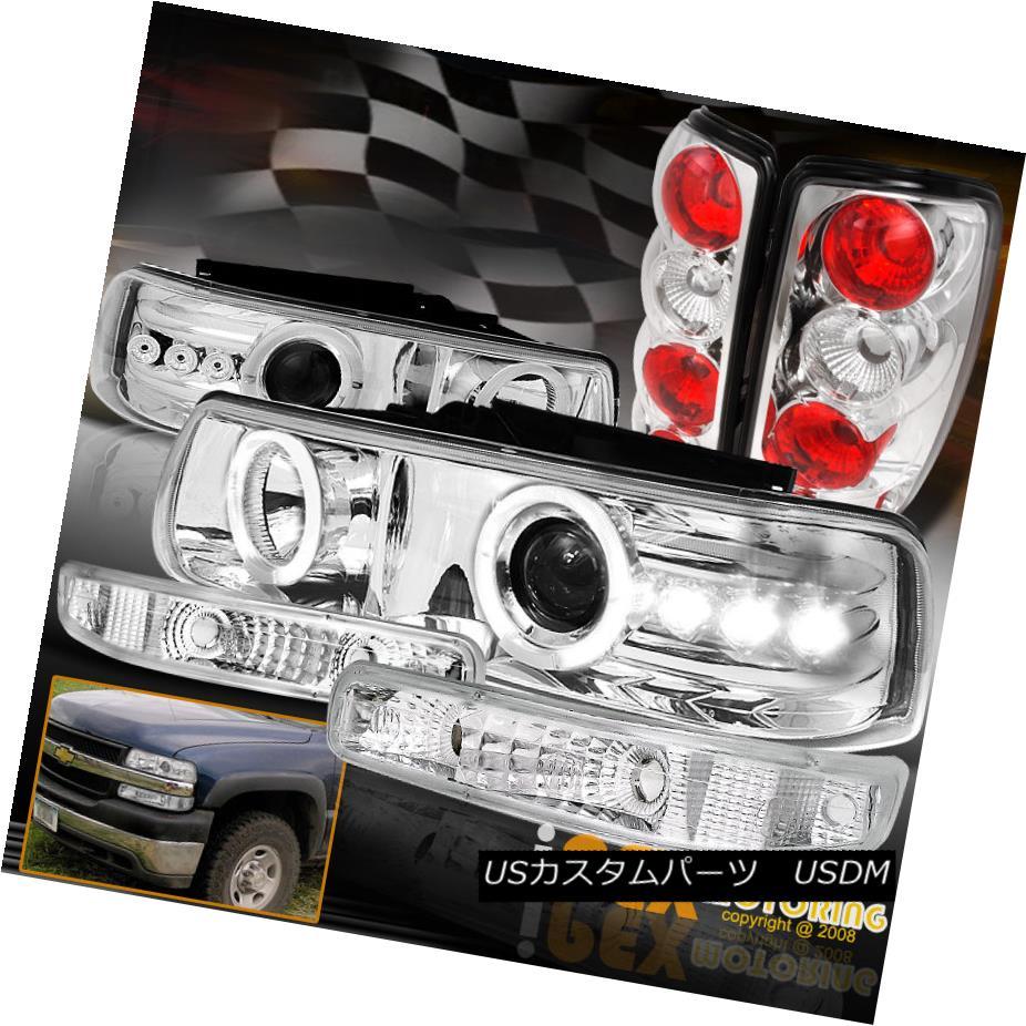 テールライト 2000-2006 Chevy Suburban Tahoe Halo Projector LED Headlights + Tail Light Chrome 2000-2006シボレー郊外のタホハロープロジェクターLEDヘッドライト+テールライトクローム