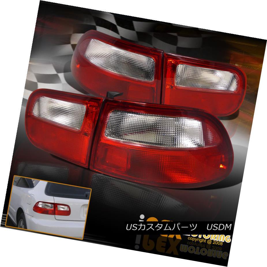 テールライト NEW For 1992-1995 Honda Civic 3Dr HB HATCHBACK JDM Red Clear Tail Lights EG NEW 1992-1995 Honda Civic 3Dr HBハッチバックJDMレッドクリアテールライトEG