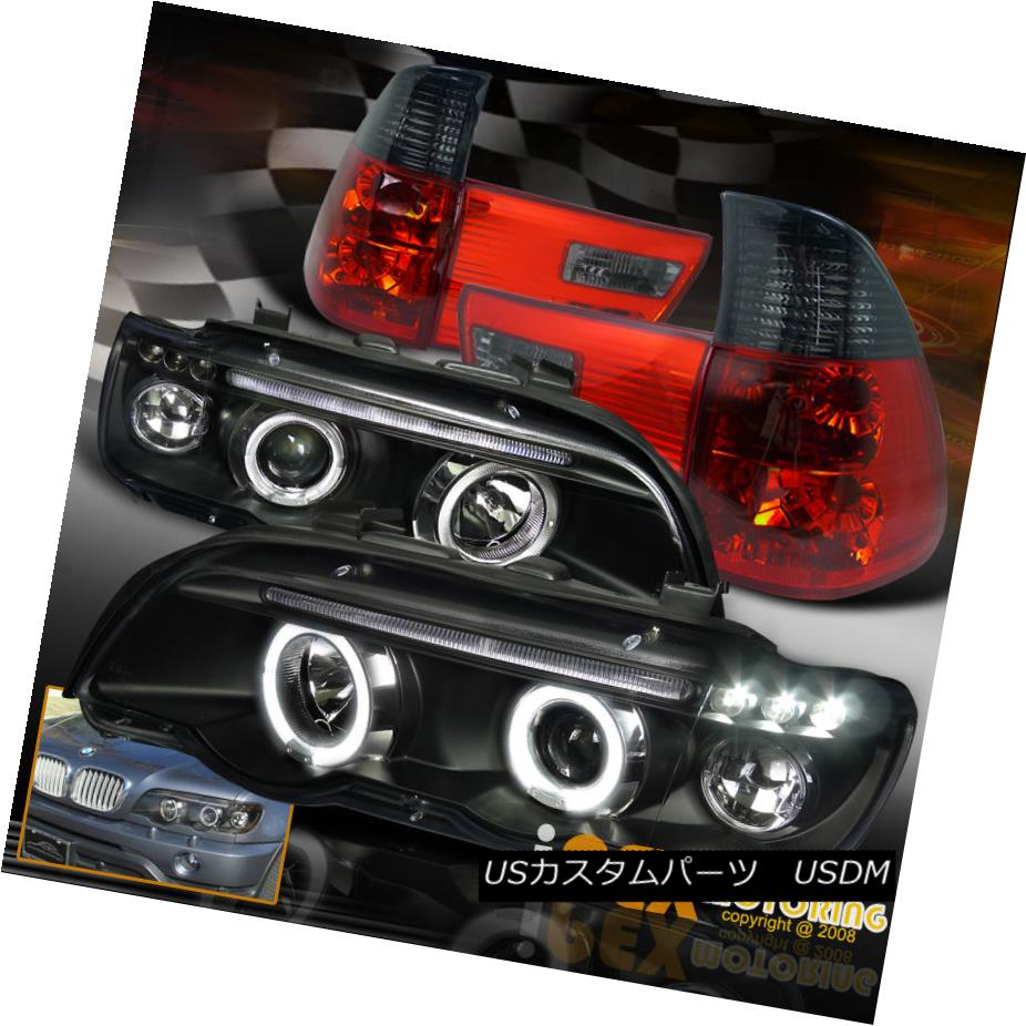 テールライト 2001-2003 BMW X5 E53 5-Series Black Halo LED Head Light W/ Smoke Euro Tail Lamps 2001-2003 BMW X5 E53 5シリーズブラックハローLEDヘッドライトW /スモークユーロテールランプ