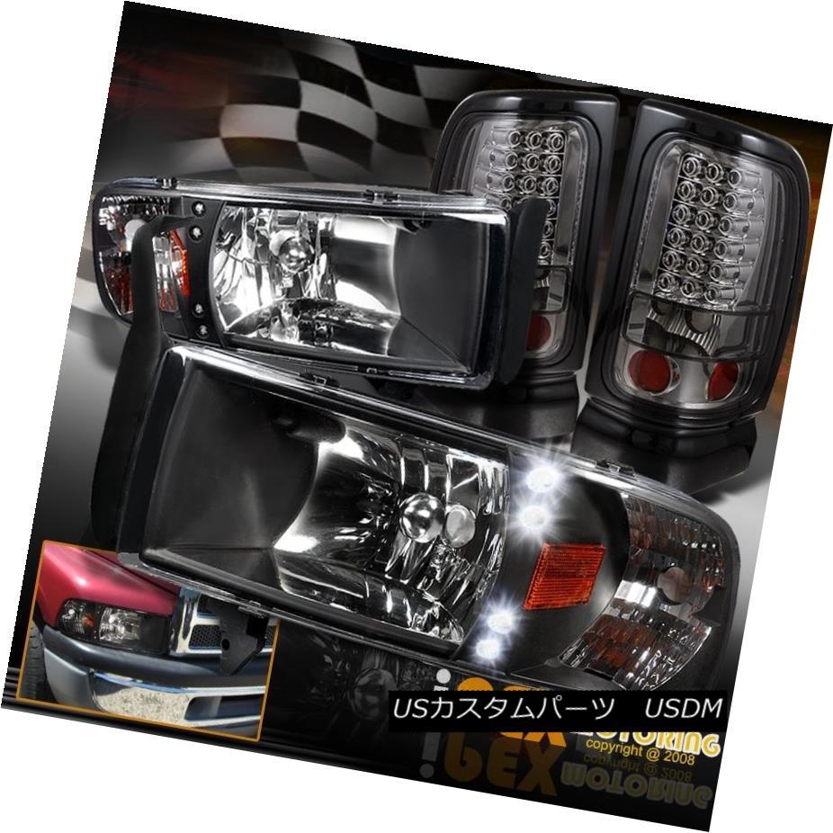 テールライト Dodge 94-01 Ram 1500 2500 3500 LED Black Headlight W/Signal+LED Smoke Tail Light Dodge 94-01 Ram 1500 2500 3500 LEDブラックヘッドライトW /信号+ LEDスモークテールライト
