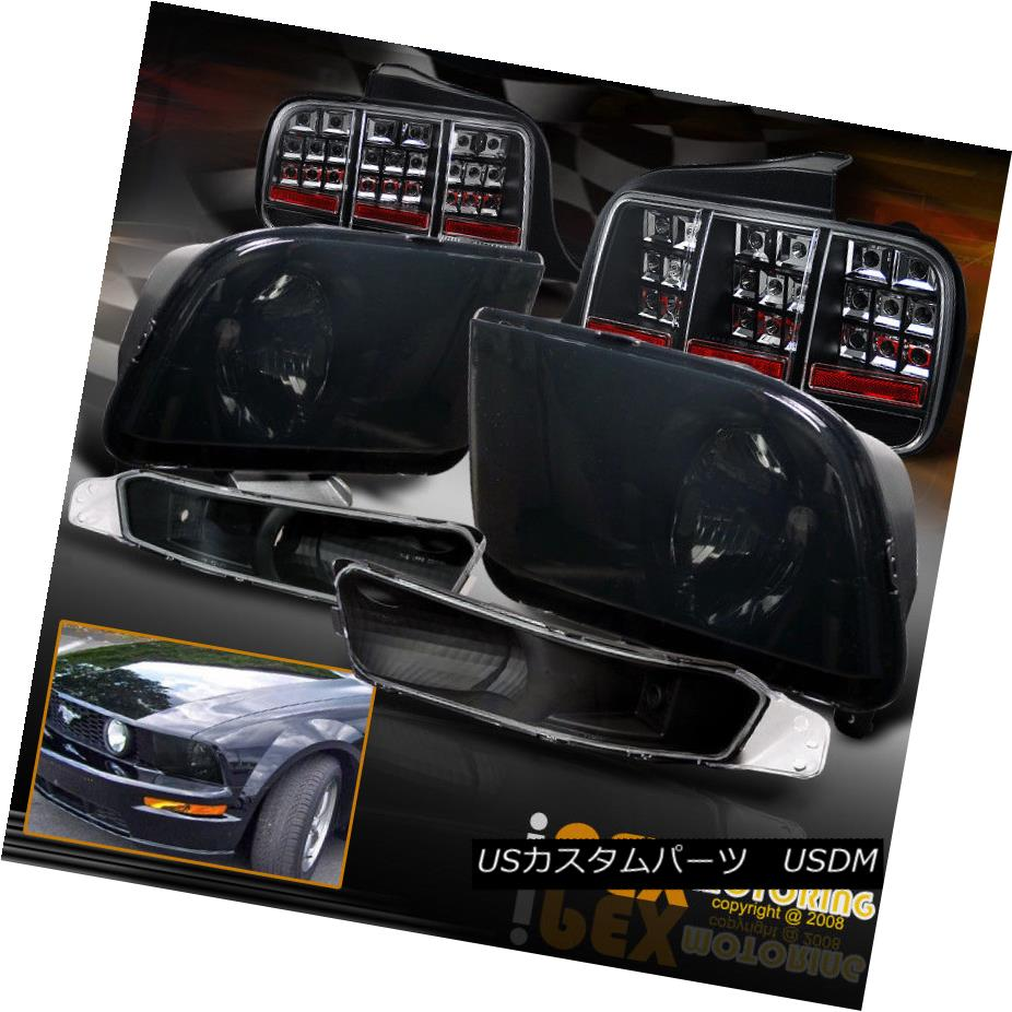 テールライト 2005-2009 Ford Mustang GT Smoke Headlights + Signals + LED Smoke Tail Lights 2005-2009 Ford Mustang GT煙ヘッドライト+信号+ LED煙テールライト