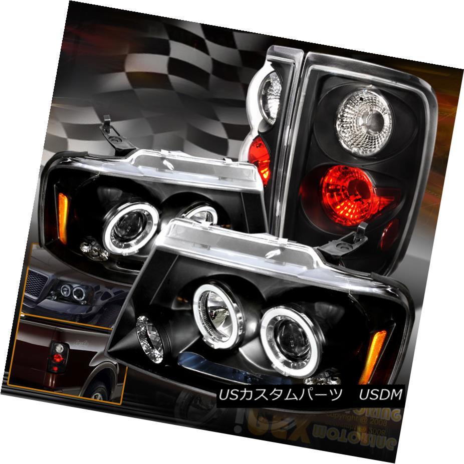 テールライト For 2004-2008 Ford F150 LED Halo Projector Headlights W/ Black Euro Tail Lights 2004?2008年フォードF150 LEDハロープロジェクターヘッドライトW /ブラックユーロテールライト
