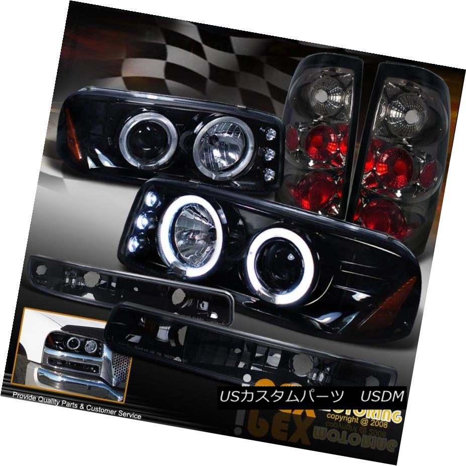 テールライト 2004-2006 GMC Sierra Projector Shiny Black Headlights +Signals+ Smoke Tail Light 2004-2006 GMC Sierraプロジェクターシャイニーブラックヘッドライト+信号+煙テールライト