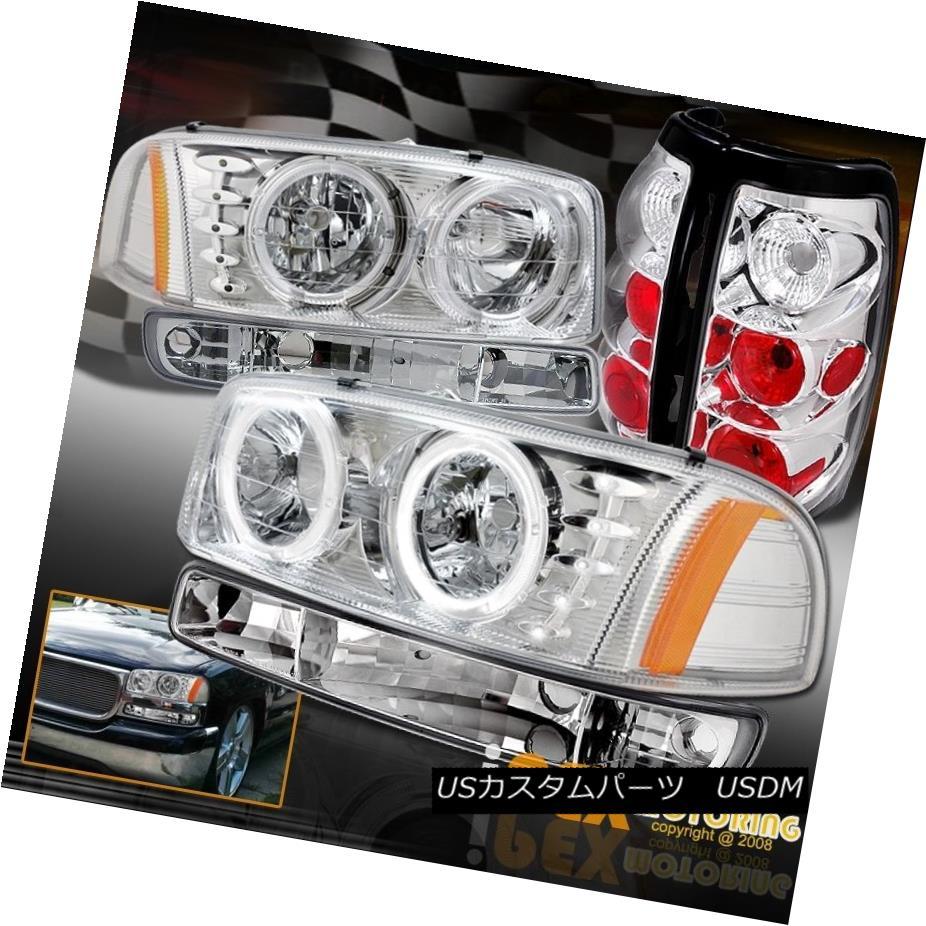 テールライト 1999-2003 GMC Sierra 1500/2500/2500HD Halo LED Chrome Headlights W/ Tail Light 1999-2003 GMC Sierra 1500/2500/2500 HD Halo LEDクロームヘッドライトテールライト