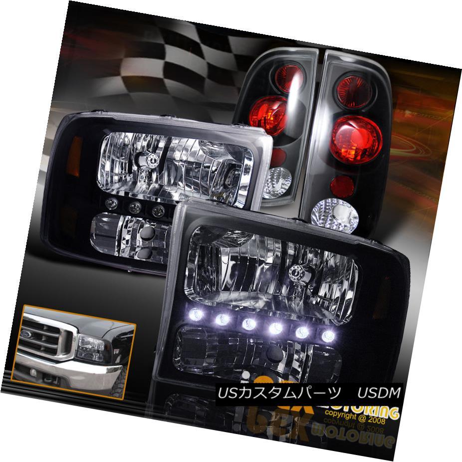 テールライト 1999-2004 Ford F250/F350 SUPER-DUTY Bright LED Headlights W/ Tail Lights Black 1999-2004フォードF250 / F350スーパーデューティブライトLEDヘッドライトW /テールライトブラック