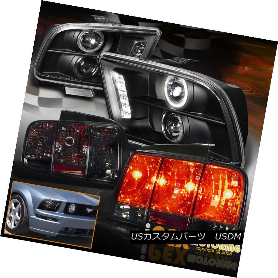 テールライト Halo Projector Black Headlights + Sequential Smoke Tail Light For 05-09 Mustang ヘイロープロジェクターブラックヘッドライト+連続煙テールライト05-09マスタング用