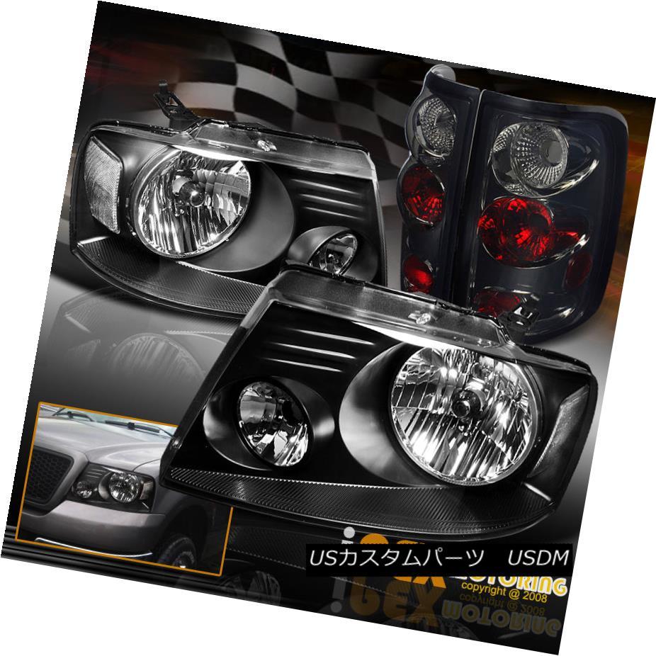 テールライト 2004-2008 Ford F150 F-150 Black Clear Headlights + Smoke Euro Tail Lights Combo 2004-2008フォードF150 F-150ブラッククリアヘッドライト+スモークユーロテールライトコンボ