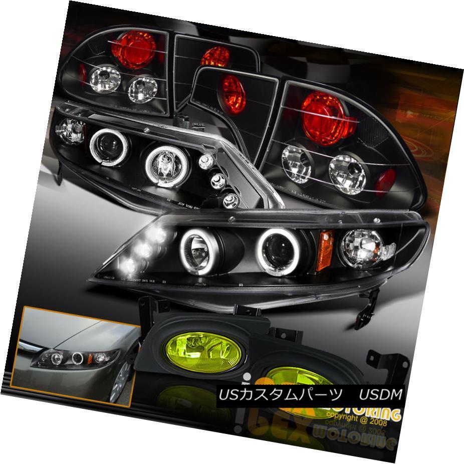 テールライト 2006-2008 Honda Civic Dual Halo Black Projector LED Headlight + Tail + Fog Light 2006-2008ホンダシビックデュアルヘイローブラックプロジェクターLEDヘッドライト+テール+フォグライト
