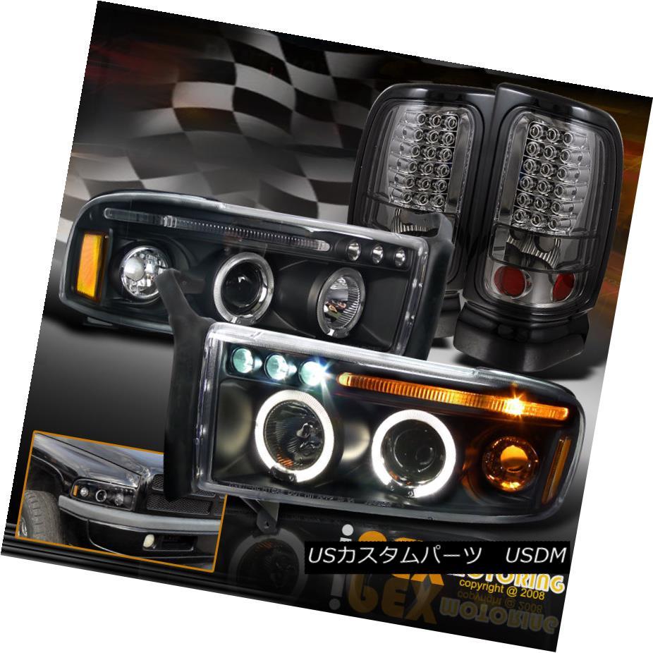 テールライト Dodge 94-01 Ram 1500 2500 Halo Projector Black Headlights + LED Smoke Tail Light ドッジ94-01ラム1500 2500ハロープロジェクターブラックヘッドライト+ LED煙テールライト