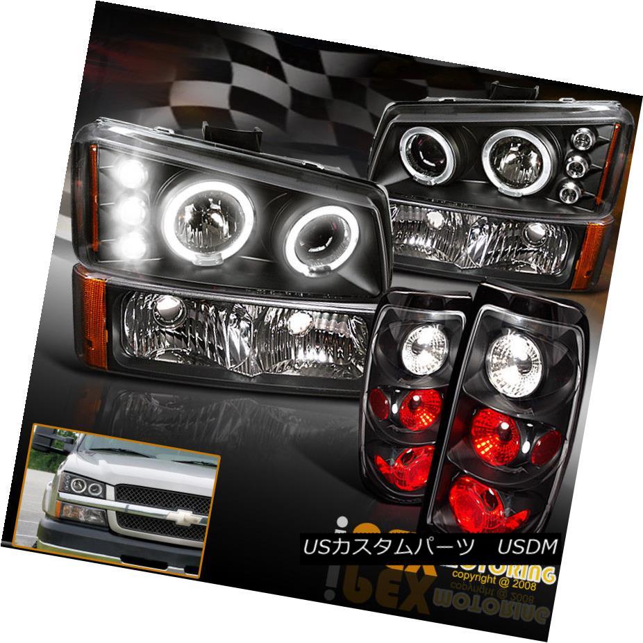 テールライト 2003-2006 Chevy Silverado 1500 2500HD Halo Projector Black Headlights+Tail Light 2003-2006シボレーシルバラード1500 2500HDハロープロジェクターブラックヘッドライト+タイ lライト