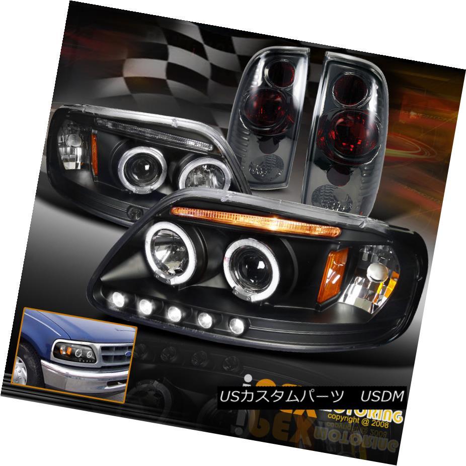 テールライト 1997-2003 Ford F150 Dual Halo LED Projector Black Headlights + Smoke Tail Lights 1997?2003年フォードF150デュアルハローLEDプロジェクターブラックヘッドライト+煙テールライト