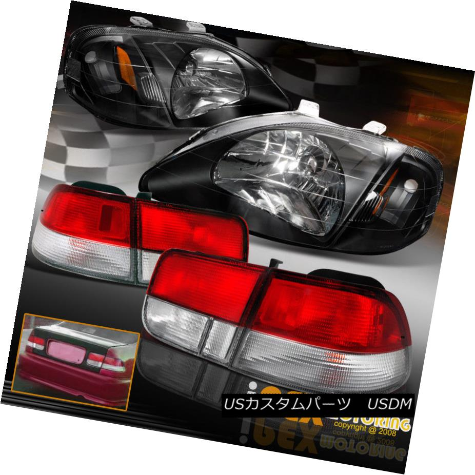 テールライト 1999-2000 Honda 2Dr Coupe Civic JDM Black Headlights W/ Type-R Red Tail Lights 1999-2000ホンダ2DrクーペシビックJDMブラックヘッドライトW /タイプ-Rレッドテールライト