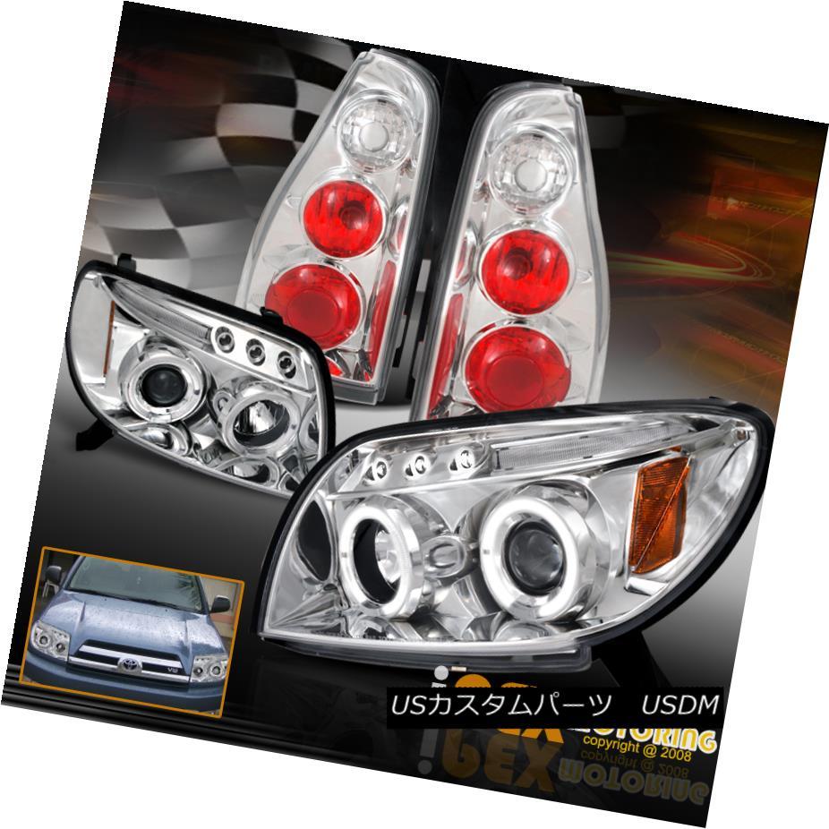 テールライト 2003-2005 Toyota 4Runner Halo Rim Projector LED Headlights + Tail Lights Chrome 2003-2005トヨタ4Runner HaloリムプロジェクターLEDヘッドライト+テールライトクローム