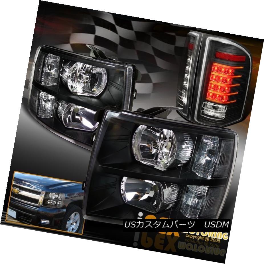 テールライト 2007-2014 Chevy Silverado 1500 2500HD 3500HD Black Headlights + LED Tail Lights 2007-2014シボレーシルバラード1500 2500HD 3500HDブラックヘッドライト+ LEDテールライト