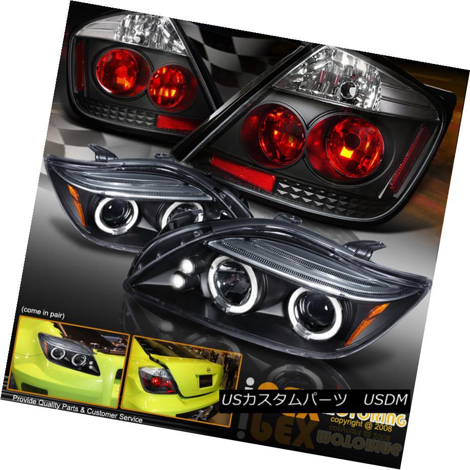 テールライト For 2004-2007 Scion TC Dual Halo Projector LED Headlights + Tail Lights Black 2004-2007シオンTCデュアルハロープロジェクターLEDヘッドライト+テールライトブラック用