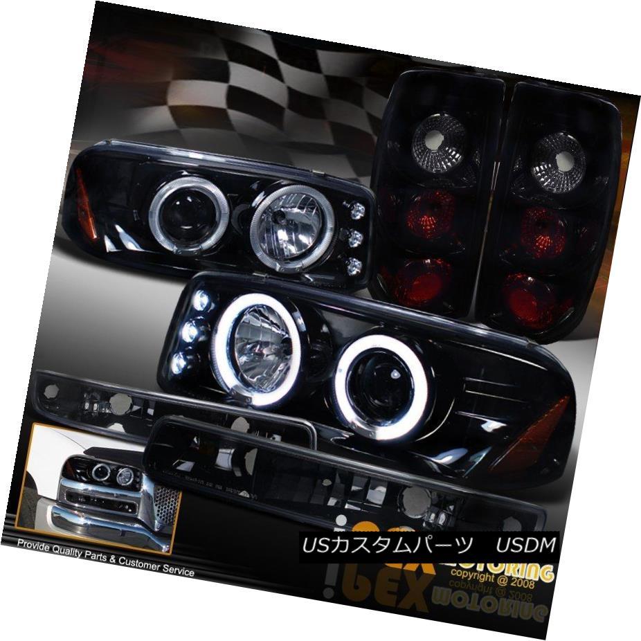 テールライト 99-03 GMC Sierra GLOSS PIANO BLACK Halo LED Headlight + Dark Smoked Tail Light 99-03 GMC Sierra GLOSS PIANO BLACKハローLEDヘッドライト+ダークスモークテールライト