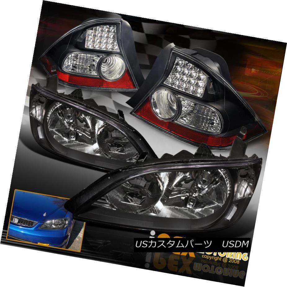 テールライト 2004-2005 Honda Civic 2Dr Coupe Black JDM Style Headlights + LED Tail Lights 2004-2005ホンダシビック2DrクーペブラックJDMスタイルヘッドライト+ LEDテールライト