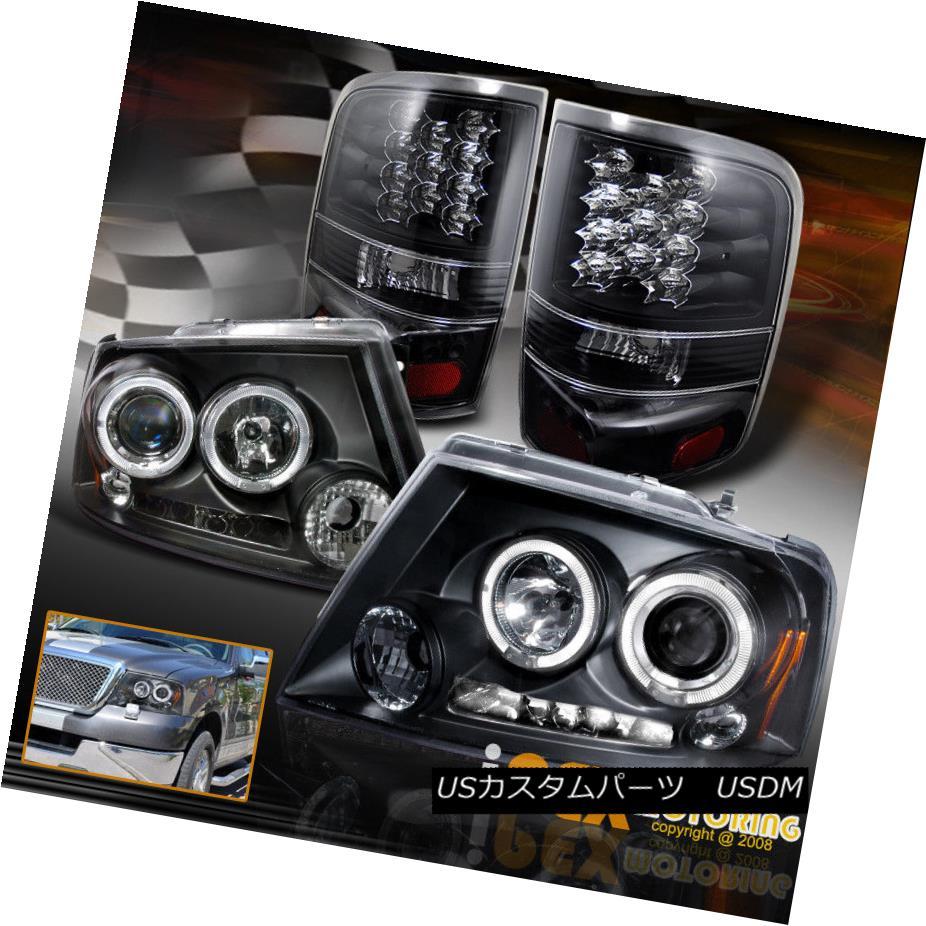 テールライト For 2004-2005 Ford F150 Bright Halo Projector Headlights + LED Tail Lights Black 2004?2005年フォードF150ブライトハロープロジェクターヘッドライト+ LEDテールライトブラック
