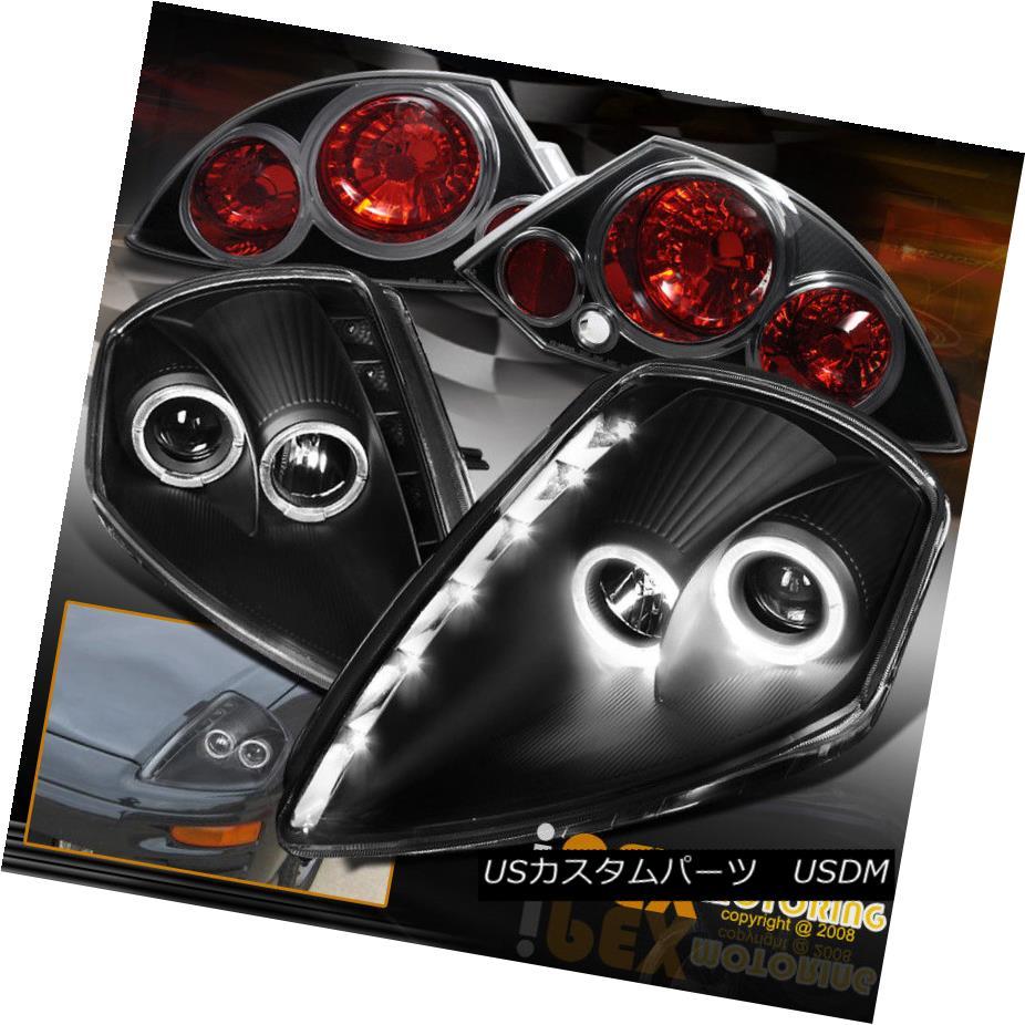 テールライト 2000-2002 Mitsubishi Eclipse Halo LED Projector Headlights + Tail Lights Black 2000-2002三菱Eclipse Halo LEDプロジェクターヘッドライト+テールライトブラック
