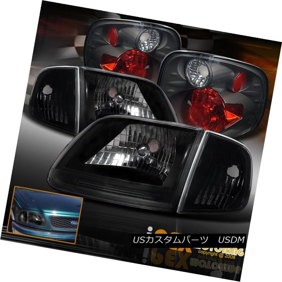 テールライト 01-03 Ford F150 Lightning Harley Davidson Black Headlight + Signal + Tail Light 01-03フォードF150ライトハーレーダビッドソンブラックヘッドライト+信号+テールライト