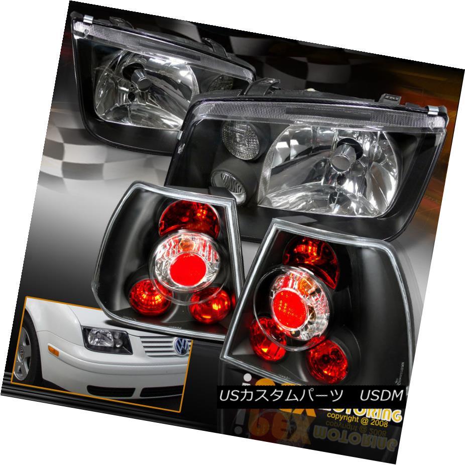 テールライト 1999-2005 VW Jetta MK4 MK-4 Bora Style Euro Black Headlights + Black Tail Lights 1999-2005 VWジェッタMK4 MK-4ボラスタイルユーロブラックヘッドライト+ブラックテールライト