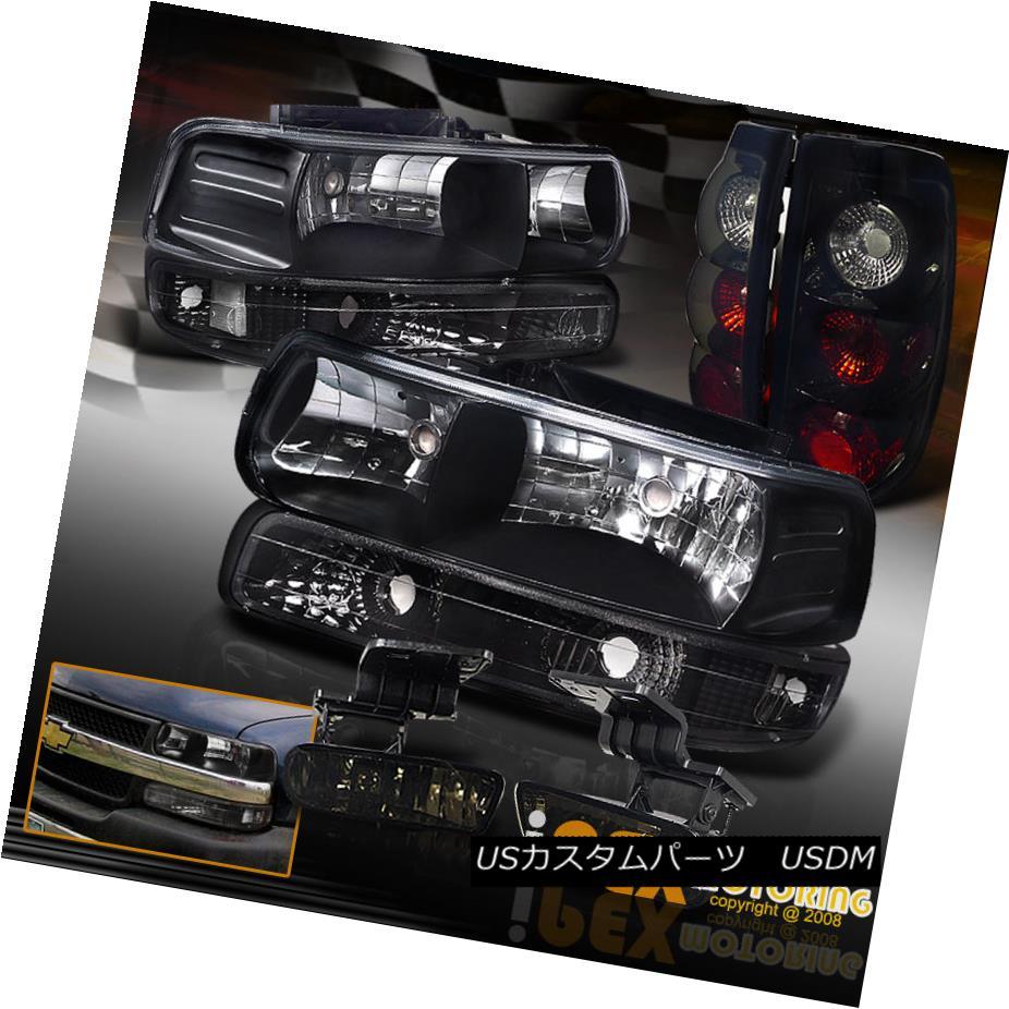 テールライト 1999-2002 Chevy Silverado Headlights W/ Smoked-Black Tail Lights + Fog Light 1999-2002シボレーシルバラードヘッドライトW /スモークブラックテールライト+フォグライト