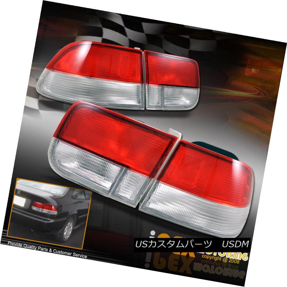 テールライト (4PC JDM RED/CLEAR) 1996-2000 Honda Civic 2DR EX/DX/HX/SI Rear Tail Lights Lamps (4PC JDM RED / CLEAR)1996-2000 Honda Civic 2DR EX / DX / HX / SIリアテールライトランプ