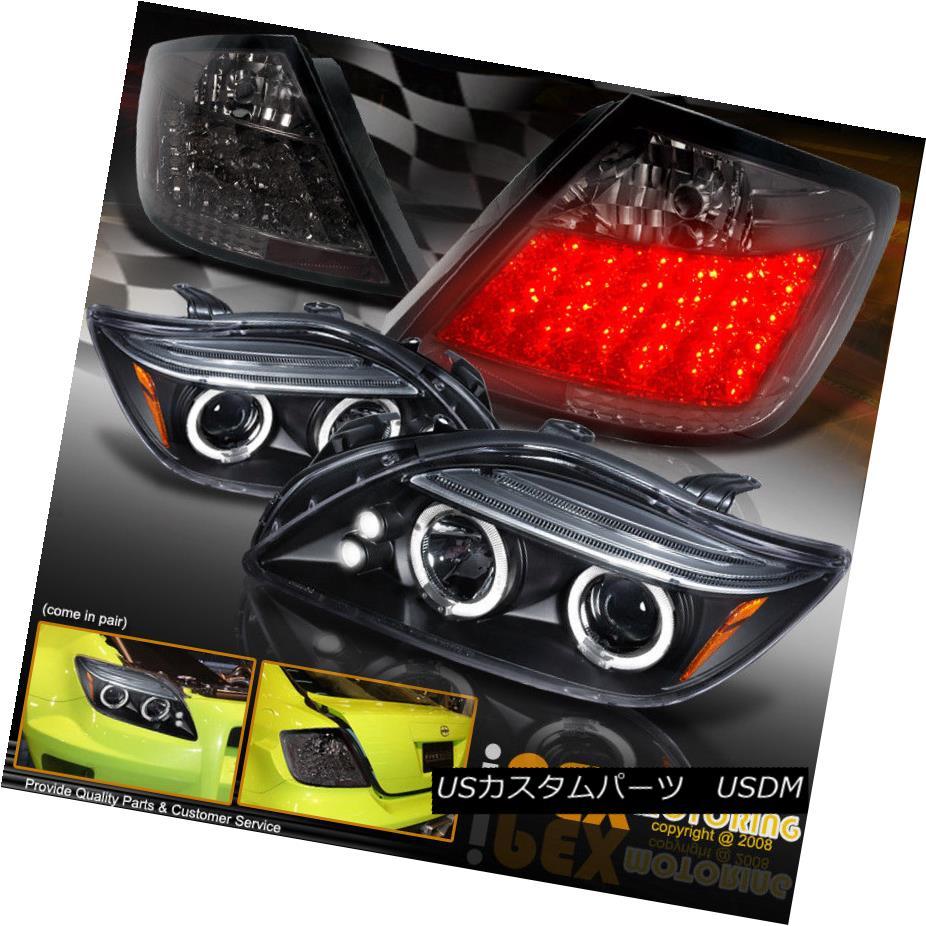 テールライト 2004-2007 Scion tC Halo Projector Black Headlight + Bright LED Smoke Tail Lights 2004-2007 Scion tC Haloプロジェクターブラックヘッドライト+ブライトLEDスモークテールライト