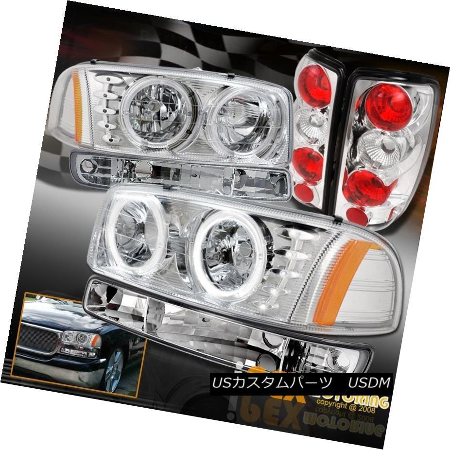 テールライト 2000-2006 GMC Yukon SLT SLE Halo LED Headlight W/ Signals + Tail Lights Chrome 2000-2006 GMC Yukon SLT SLE HaloヘッドライトW /シグナル+テールライトクローム