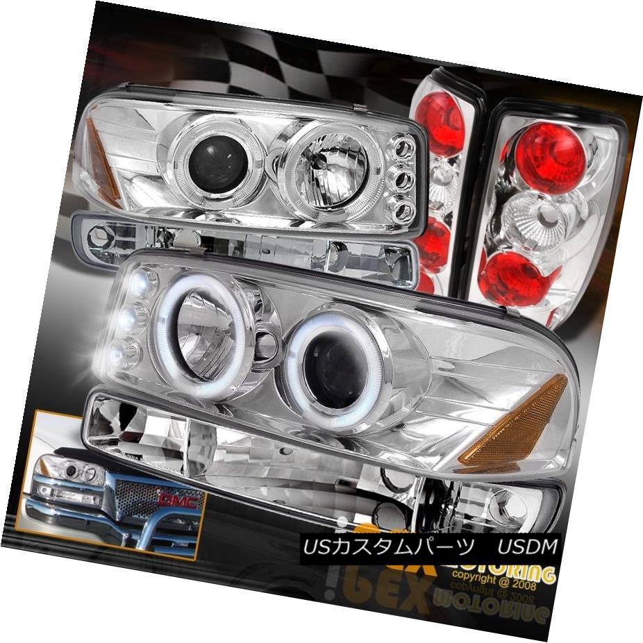 テールライト NEW 2000-2006 GMC Yukon SLT SLE Halo Projector Headlights + Tail Lights Chrome NEW 2000-2006 GMC Yukon SLT SLEハロープロジェクターヘッドライト+テールライトクローム