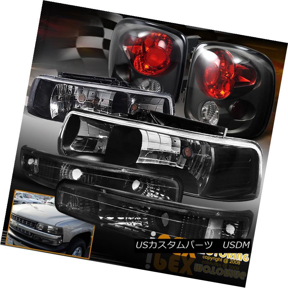 テールライト 1999-2002 Chevy Silverado [STEPSIDE] Black Headlights + Tail Light + Signal Lamp 1999-2002シボレーシルバラード[ステープライド]ブラックヘッドライト+テールライト+シグナルランプ