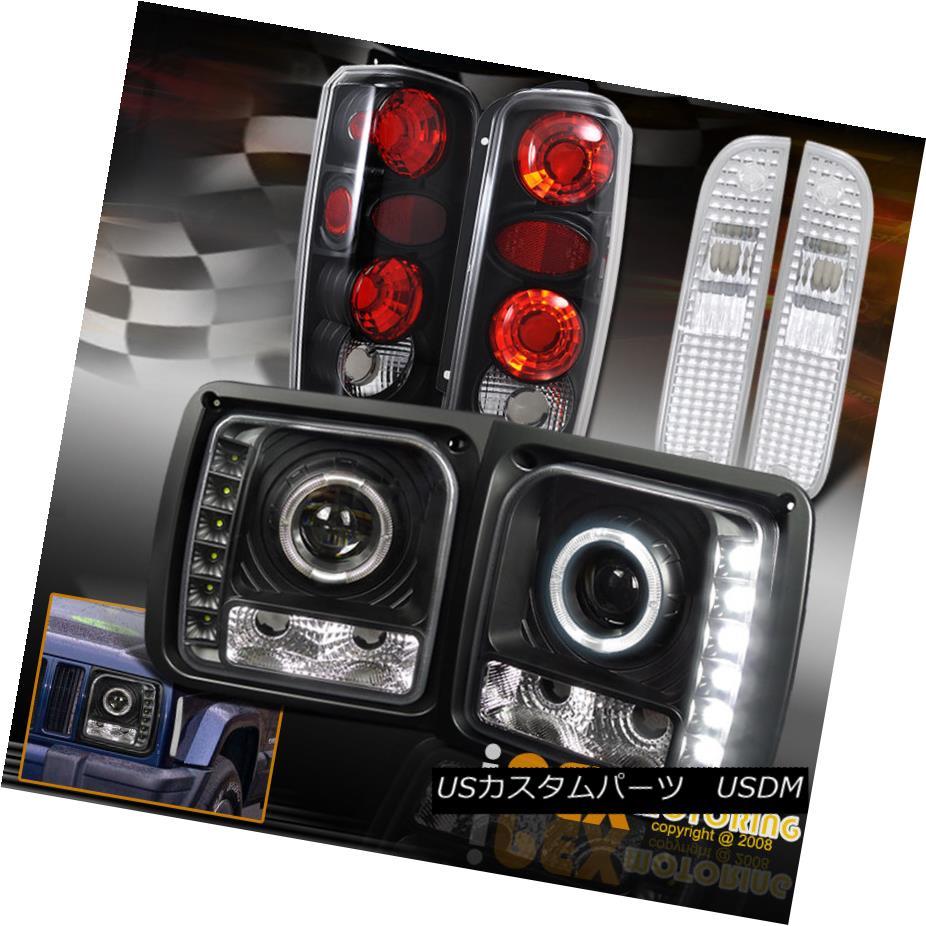 テールライト 1997-2001 Jeep Cherokee Halo Projector LED Black Headlight + Signal + Tail Light 1997年-2001ジープチェロキーハロープロジェクターLEDブラックヘッドライト+信号+テールライト